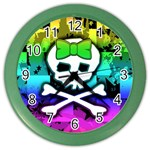 Rainbow Skull Color Wall Clock