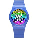 Rainbow Skull Round Plastic Sport Watch Small