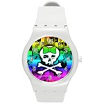 Rainbow Skull Round Plastic Sport Watch Medium