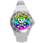 Rainbow Skull Round Plastic Sport Watch Large