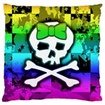Rainbow Skull Large Cushion Case (Two Sides)