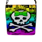 Rainbow Skull Flap Closure Messenger Bag (Large)