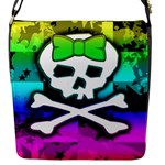Rainbow Skull Flap closure messenger bag (Small)