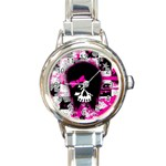 Scene Kid Girl Skull Round Italian Charm Watch