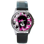 Scene Kid Girl Skull Round Metal Watch