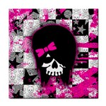 Scene Kid Girl Skull Tile Coaster