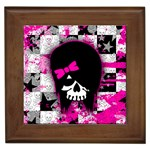 Scene Kid Girl Skull Framed Tile