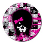 Scene Kid Girl Skull Round Mousepad