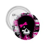 Scene Kid Girl Skull 2.25  Button