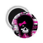 Scene Kid Girl Skull 2.25  Magnet