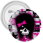 Scene Kid Girl Skull 3  Button