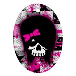 Scene Kid Girl Skull Ornament (Oval)