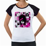 Scene Kid Girl Skull Women s Cap Sleeve T
