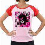 Scene Kid Girl Skull Women s Cap Sleeve T-Shirt