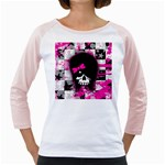 Scene Kid Girl Skull Girly Raglan