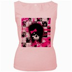 Scene Kid Girl Skull Women s Pink Tank Top
