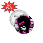Scene Kid Girl Skull 1.75  Button (100 pack)