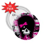 Scene Kid Girl Skull 2.25  Button (10 pack)