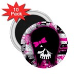 Scene Kid Girl Skull 2.25  Magnet (10 pack)