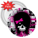 Scene Kid Girl Skull 3  Button (10 pack)