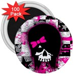 Scene Kid Girl Skull 3  Magnet (100 pack)