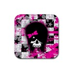 Scene Kid Girl Skull Rubber Square Coaster (4 pack)