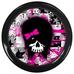 Scene Kid Girl Skull Wall Clock (Black)
