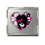 Scene Kid Girl Skull Mega Link Heart Italian Charm (18mm)