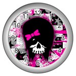 Scene Kid Girl Skull Wall Clock (Silver)