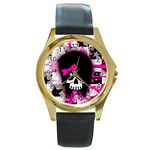 Scene Kid Girl Skull Round Gold Metal Watch