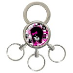 Scene Kid Girl Skull 3-Ring Key Chain