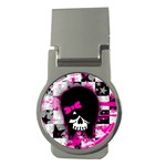Scene Kid Girl Skull Money Clip (Round)