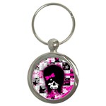 Scene Kid Girl Skull Key Chain (Round)