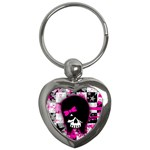 Scene Kid Girl Skull Key Chain (Heart)