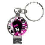 Scene Kid Girl Skull Nail Clippers Key Chain
