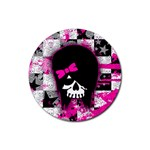 Scene Kid Girl Skull Rubber Round Coaster (4 pack)