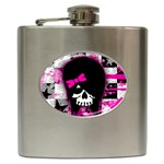 Scene Kid Girl Skull Hip Flask (6 oz)