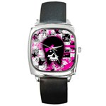 Scene Kid Girl Skull Square Metal Watch