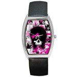 Scene Kid Girl Skull Barrel Style Metal Watch