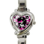 Scene Kid Girl Skull Heart Italian Charm Watch