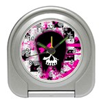 Scene Kid Girl Skull Travel Alarm Clock