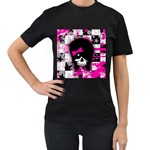 Scene Kid Girl Skull Women s Black T-Shirt (Two Sides)