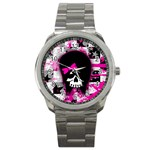 Scene Kid Girl Skull Sport Metal Watch