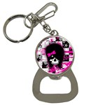 Scene Kid Girl Skull Bottle Opener Key Chain