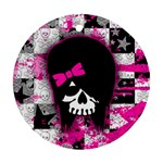 Scene Kid Girl Skull Round Ornament (Two Sides)