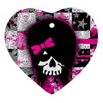 Scene Kid Girl Skull Heart Ornament (Two Sides)