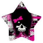 Scene Kid Girl Skull Star Ornament (Two Sides)