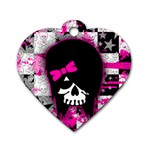 Scene Kid Girl Skull Dog Tag Heart (One Side)