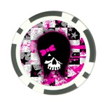 Scene Kid Girl Skull Poker Chip Card Guard