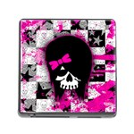 Scene Kid Girl Skull Memory Card Reader with Storage (Square)